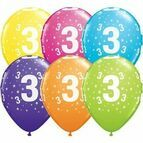Pack of 6 3rd Birthday Assorted Colour Helium Quality Balloons