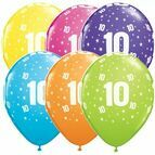 Pack of 6 10th Birthday Assorted Colour Helium Quality Balloons
