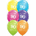 Pack of 6 90th Birthday Assorted Colour Helium Quality Balloons