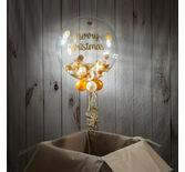 Gold & White Feather 'Merry Christmas' Bubble Balloon
