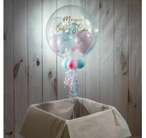 Personalised Baby Pink, Baby Blue & Clear Stars Balloon-Filled Bubble Balloon
