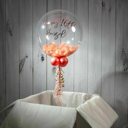 Happy Birthday Personalised Feather Bubble Balloon