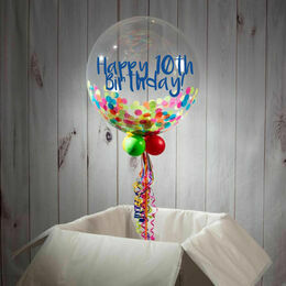 10th Birthday Personalised Confetti Bubble Balloon