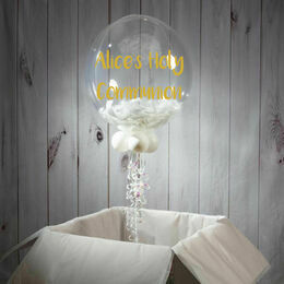 Holy Communion Personalised Feather Bubble Balloon