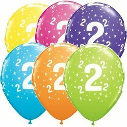 Pack of 6 2nd Birthday Assorted Colour Helium Quality Balloons