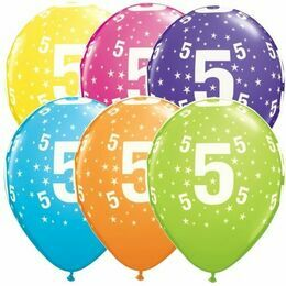 Pack of 6 5th Birthday Assorted Colour Helium Quality Balloons