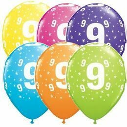 Pack of 6 9th Birthday Assorted Colour Helium Quality Balloons