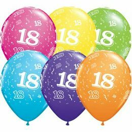 Pack of 6 18th Birthday Assorted Colour Helium Quality Balloons