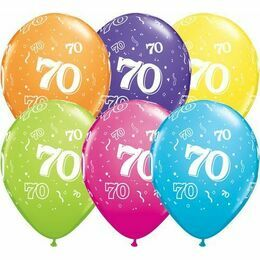 Pack of 6 70th Birthday Assorted Colour Helium Quality Balloons