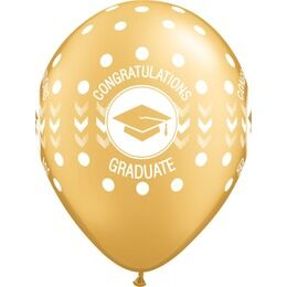 Pack of 6 Graduation Print Gold Helium Quality Balloons