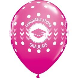 Pack of 6 Graduation Print Pink Helium Quality Balloons