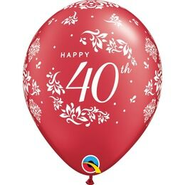 Pack of 6 40th Anniversary Helium Quality Balloons