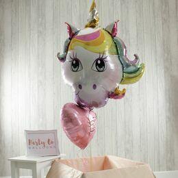 Unicorn Head & Personalised Foil Balloon Set
