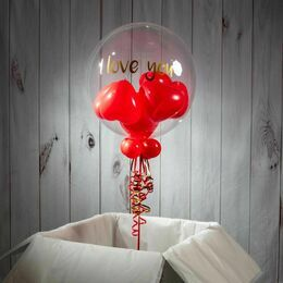 Personalised Red Heart Balloon-Filled Bubble Balloon