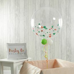 St Patrick's Day Personalised Clover Print Bubble Balloon