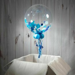 Personalised Blue Confetti Father's Day Bubble Balloon