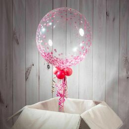 Christening / Baptism Personalised Pink 'Confetti Print' Bubble Balloon