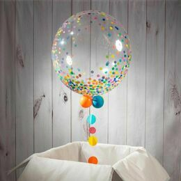 Personalised 'Get Well Soon' Rainbow Confetti Print Bubble Balloon