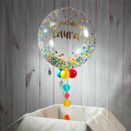Happy Birthday Personalised Rainbow Confetti Print Bubble Balloon