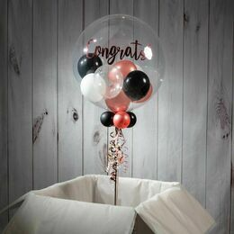 Personalised Rose Gold Glamour Balloon-Filled Bubble Balloon