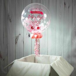 'Welcome Baby Girl' Personalised Pink Star Confetti Balloon