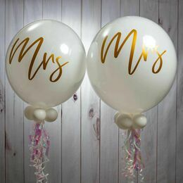 Mrs & Mrs Wedding Day Bubble Balloon Package