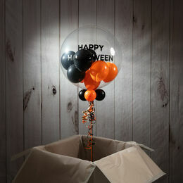 Personalised Orange & Black Halloween Balloon-Filled Bubble Balloon