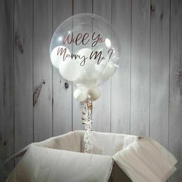 Personalised White Balloon-Filled Bubble Balloon