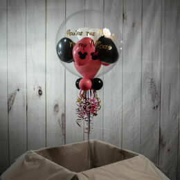 Personalised Minnie Mouse Themed Heart Balloon-Filled Bubble Balloon