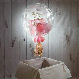 Personalised Light Pink Balloon-Filled Baby Feet Print Bubble Balloon