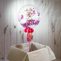 Personalised Hot Pink \'Powderfetti\' Bubble Balloon