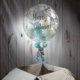 Personalised Snowflake Print Christmas Balloon-Filled Bubble Balloon