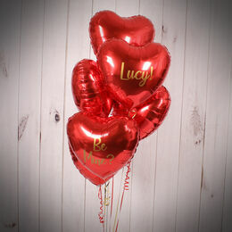 Half Dozen Inflated Red Heart Foil Balloons