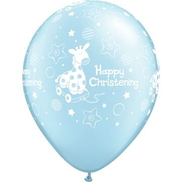 Pack of 6 Happy Christening Blue Pony Helium Quality Balloons