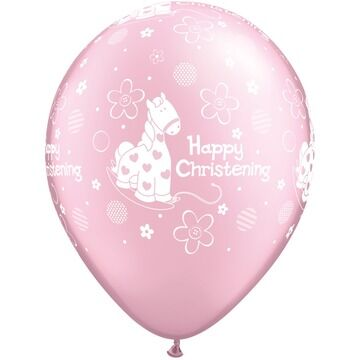 Pack of 6 Happy Christening Pink Pony Helium Quality Balloons