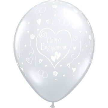 Pack of 6 Happy Engagement Clear Helium Quality Balloons