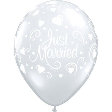 Pack of 6 Just Married Hearts Helium Quality Balloons