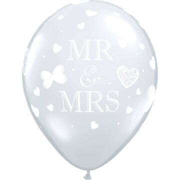 Pack of 6 Mr & Mrs Helium Quality Balloons
