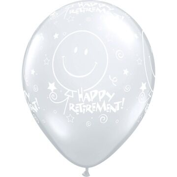 Pack of 6 Retirement Clear Helium Quality Balloons