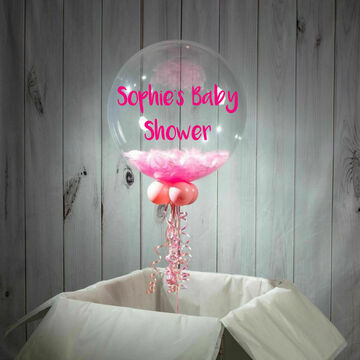 Baby Shower Personalised Feather Bubble Balloon