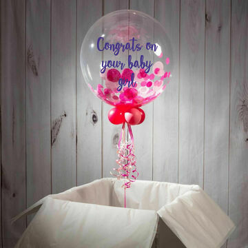 Newborn Baby Personalised Confetti Bubble Balloon