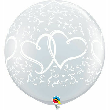 3ft Giant Clear Entwined Hearts Helium Quality Balloon