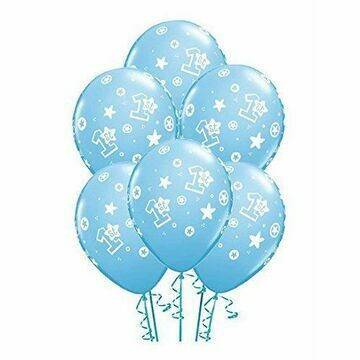Pack of 6 1st Birthday Blue Helium Quality Balloons