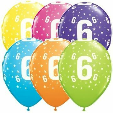 Pack of 6 6th Birthday Assorted Colour Helium Quality Balloons