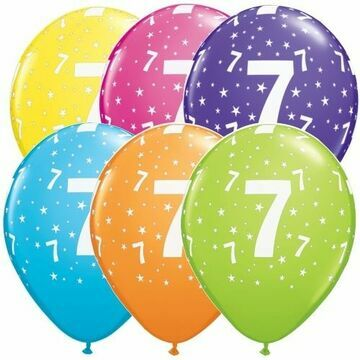Pack of 6 7th Birthday Assorted Colour Helium Quality Balloons