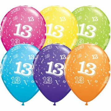 Pack of 6 13th Birthday Assorted Colour Helium Quality Balloons
