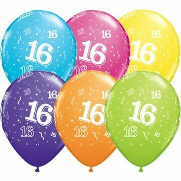 Pack of 6 16th Birthday Assorted Colour Helium Quality Balloons