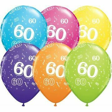 Pack of 6 60th Birthday Assorted Colour Helium Quality Balloons