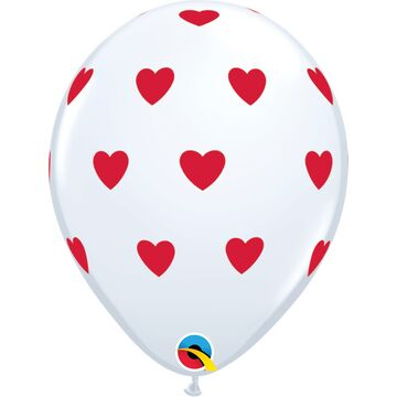 Pack of 6 Heart Print Red & White Helium Quality Balloons