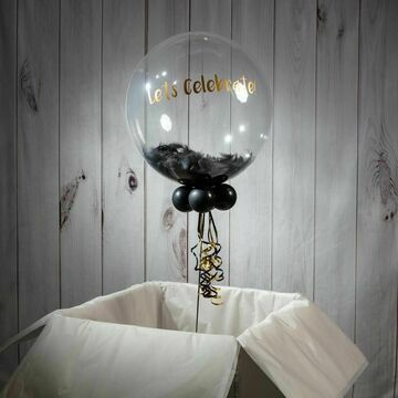 Personalised Black Feathers New Year's Eve Bubble Balloon